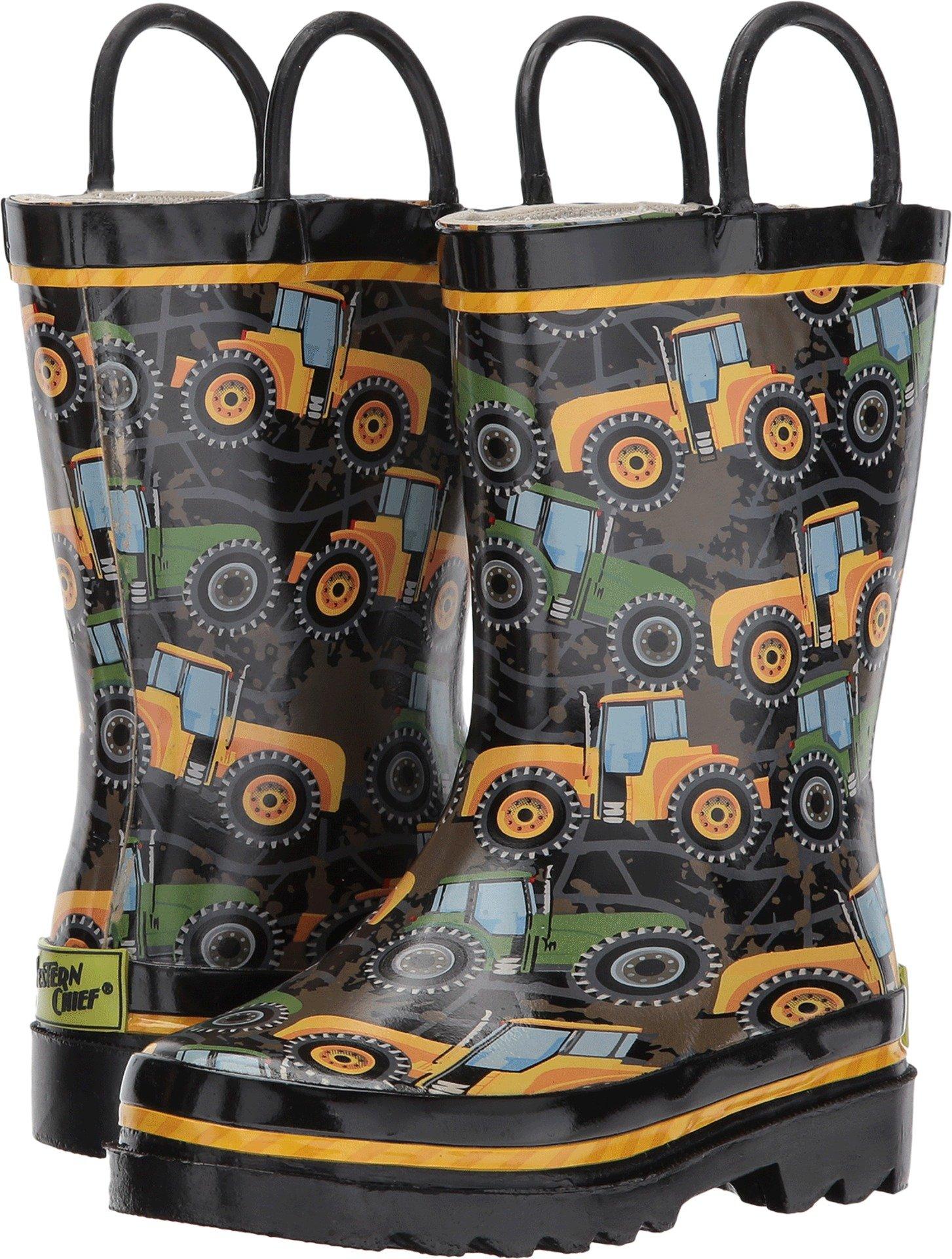 Western Chief Kids Baby Boy's Tractor Tough Rain Boots (Toddler/Little Kid/Big Kid) Black 12 Little Kid M