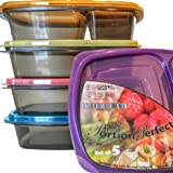 Portion Perfect Premium Meal Prep Containers/Portion Control Containers/Bento Lunch Box, (Set of 5)