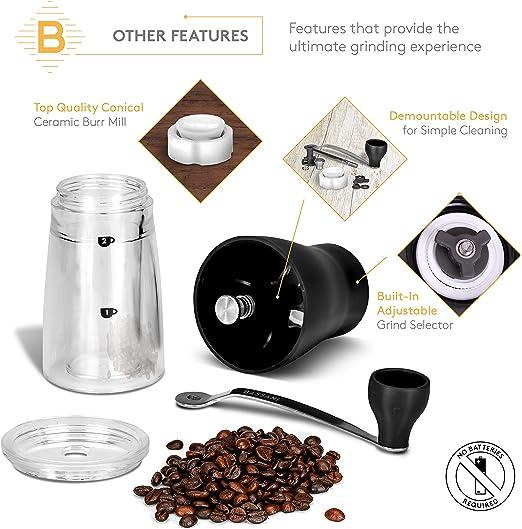 Molinillo de café manual de cerámica Burr | Macinino by BASSANI ...