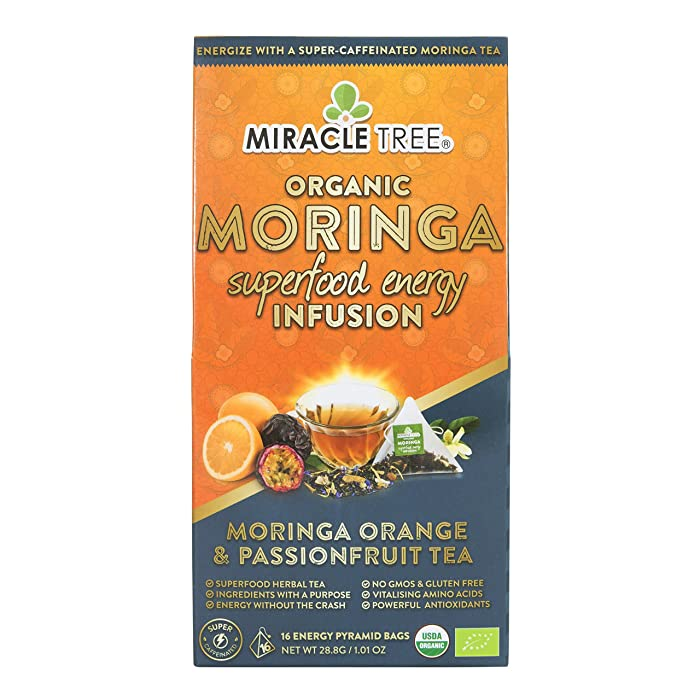 Miracle Tree's Energizing Moringa Infusion - Orange & Passionfruit | Super Caffeinated Blend | Coffee Alternative, Perfect for Focus | Organic Certified & Non-GMO | 16 Pyramid Sachets