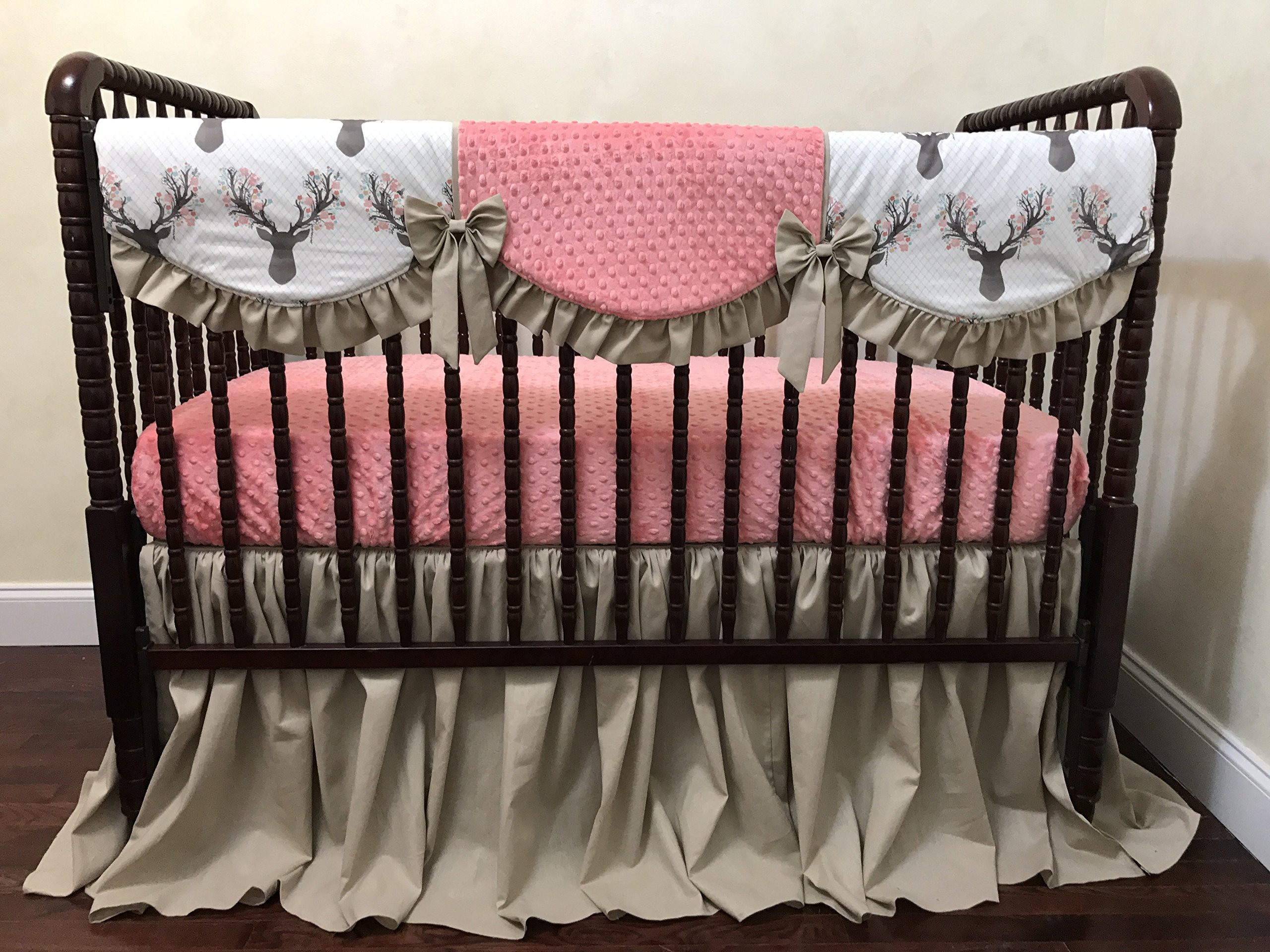 Girl Nursery Bedding, Baby Girl Crib Bedding Set Corinna - Deer Crib Bedding in Khaki and Coral, Woodland Nursery Bedding - Choose Your Pieces by Just Baby Designs Inc
