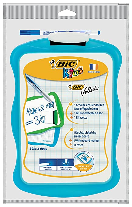 BIC Velleda Pizarra de Doble Cara y Borrado en Seco (21 x 31 cm) con Marcador y Borrador - Marco de colores Surtidos, Caja de 3 unidades