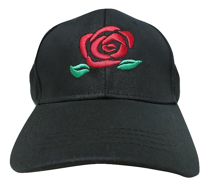 TrendyLuz Rose Flower Embroidered Baseball Cap Adjustable Strapback Dad Hat  (Black) e5631ec7fbd
