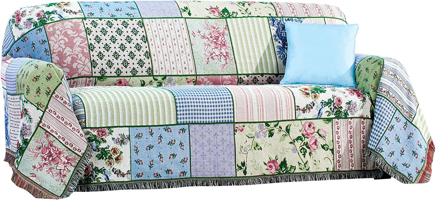 Collections Etc Floral Patchwork Furniture Tapestry Throw - Tucks Away Around Cushions - Terrific Fringed Edges - Machine Washable
