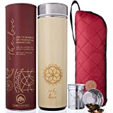 The Love Bamboo Tea Tumbler with Infuser + Strainer 18 oz for Loose Leaf Tea, Coffee & Fruit Water. Vacuum Insulated…