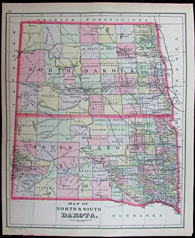 Amazon.com: North & South Dakota Fargo Bismarck Badlands 1887 ...