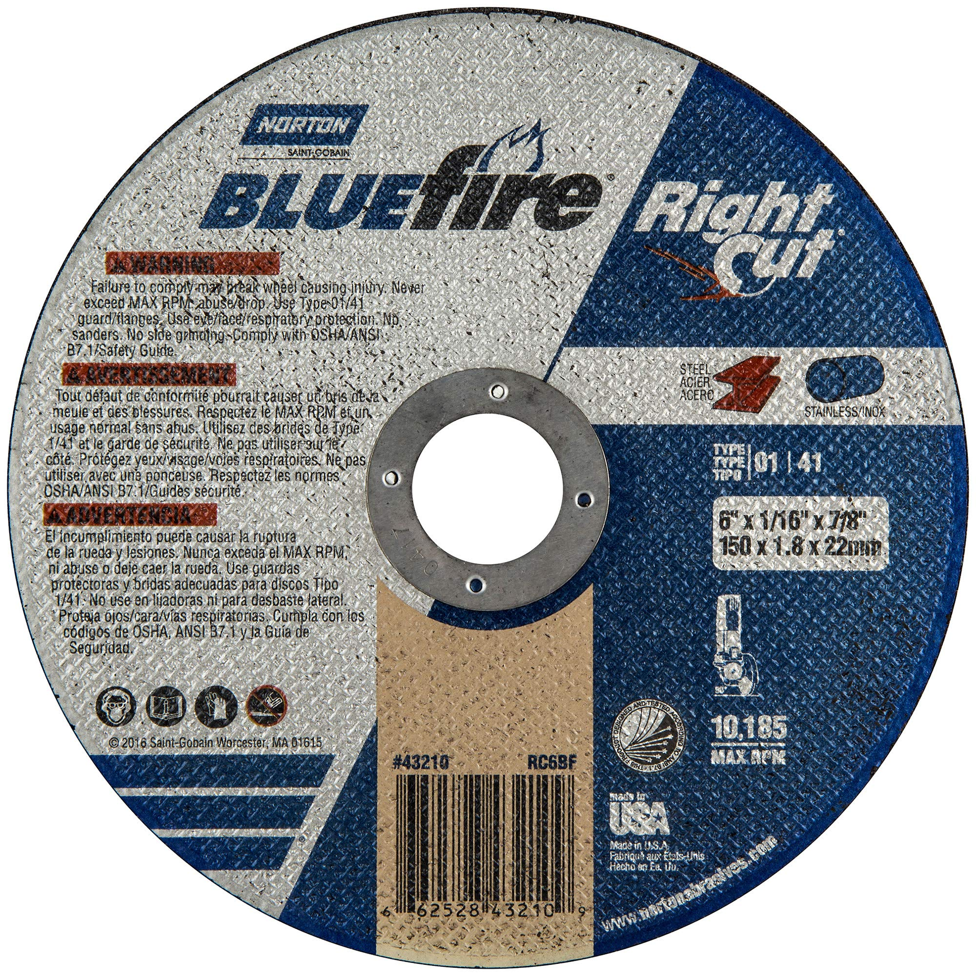 Norton Blue Fire Plus Right Cut Right Angle Grinder Reinforced Abrasive Flat Cut-off Wheel, Type 01, Zirconia Alumina, 7/8'' Arbor, 6'' Diameter x 0.045'' Thickness (Pack of 25)