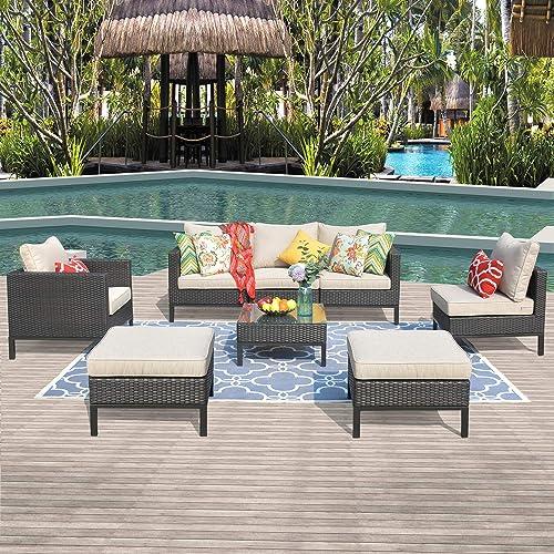 Allwex Patio Furniture,Outdoor Furniture Set,Outdoor Rattan Furniture with 2 Pillows and 1 Patio Furniture Covers Brown, Beige
