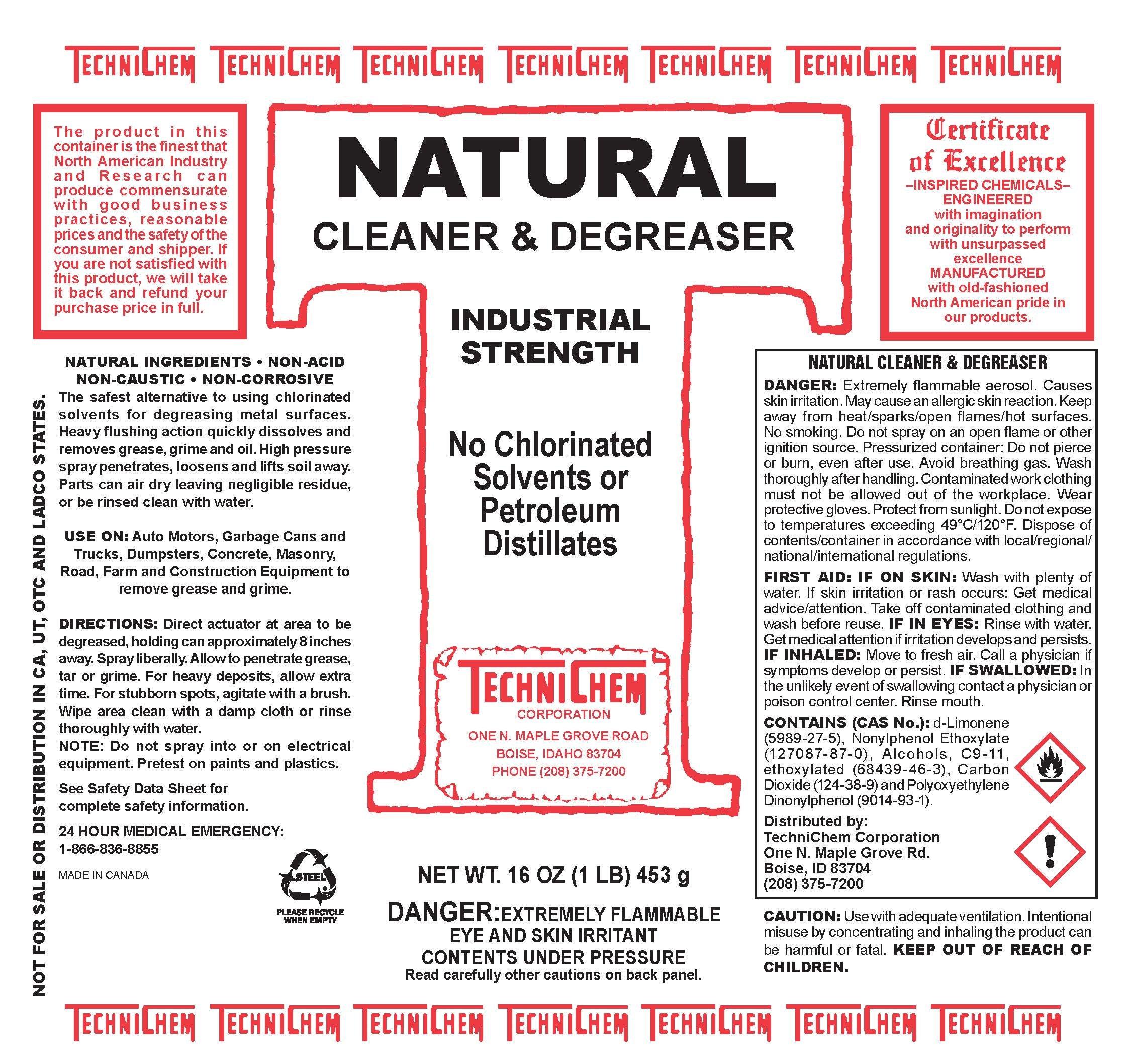 Technichem Corporation NATURAL Citrus Aerosol Cleaner (12-16oz cans) by Technichem Corporation (Image #2)