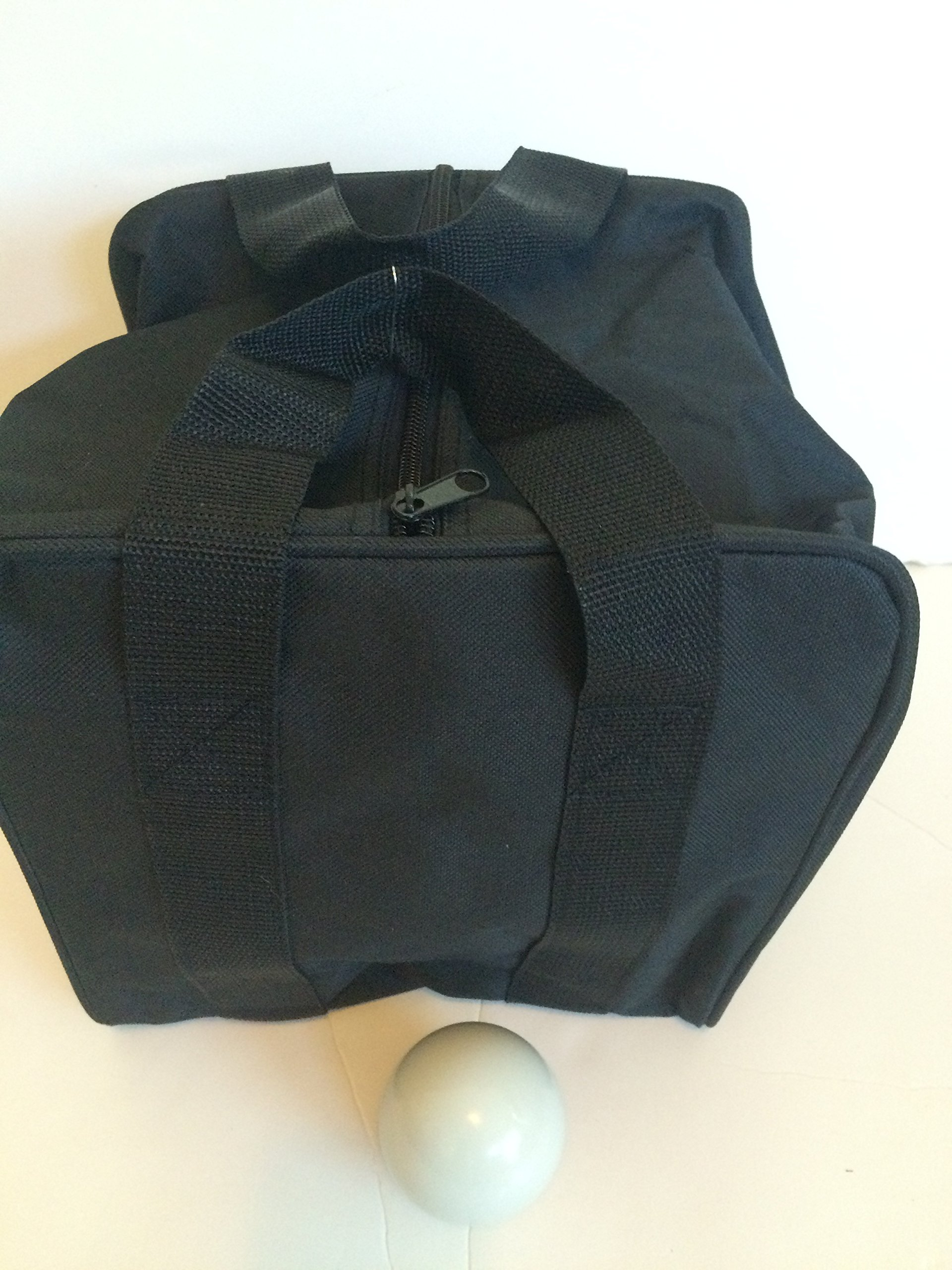 Unique Bocce Accessories Package - Extra Heavy Duty Nylon Bocce Bag (Black with Black Handles) and White pallina