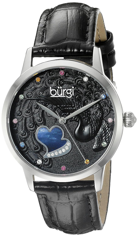 Burgiレディースbur149bkシルバークォーツ腕時計ブラックスワロフスキーCrystal Accented Dial andブラックエンボス加工レザーストラップ B013GEOTI0