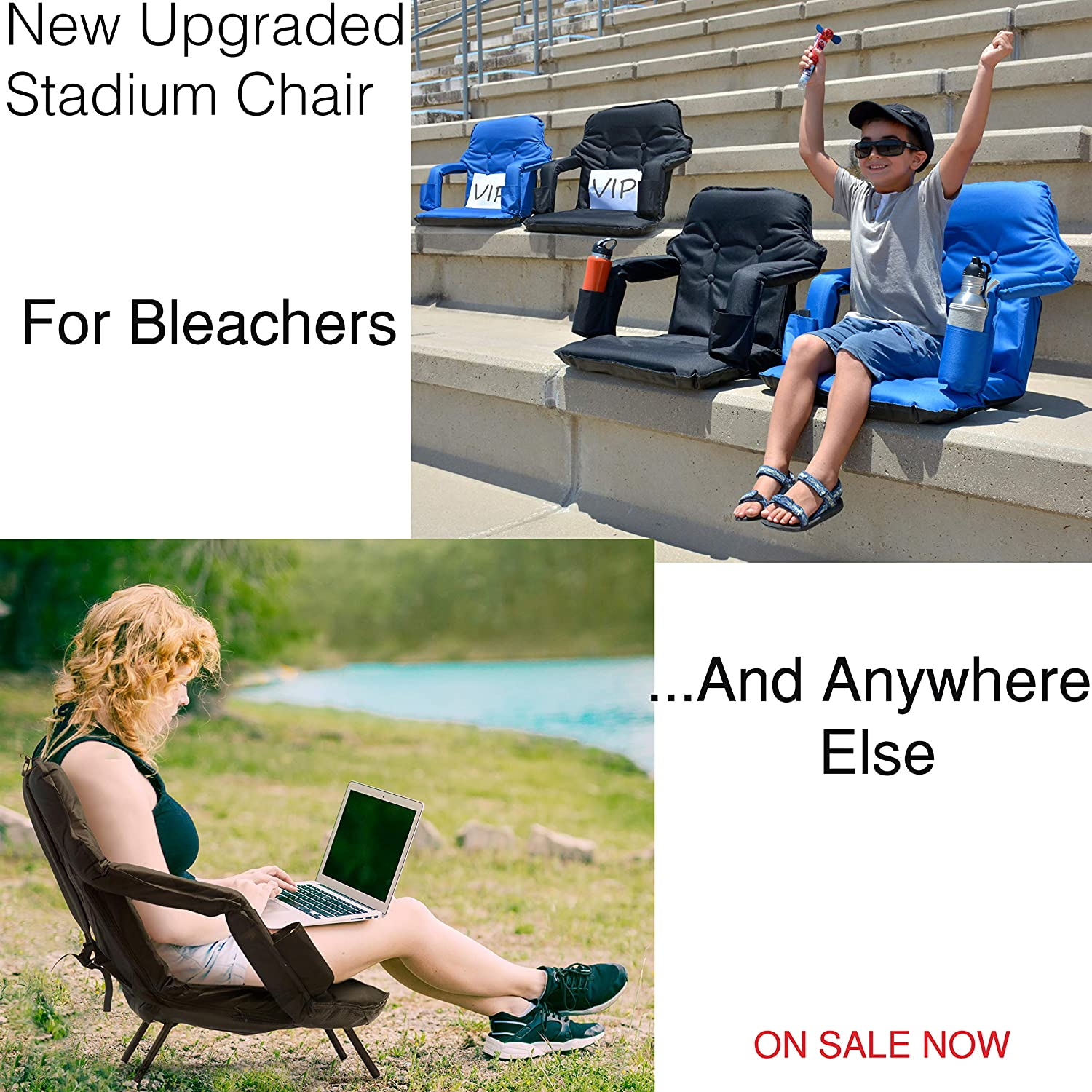High Backrest+Thick Padded Back /& Armrest+Water Proof New 2020 Patent Pending Premium Model Foldable Reclining Stadium Seat for Bleachers with Folding Legs Free Carry Bag