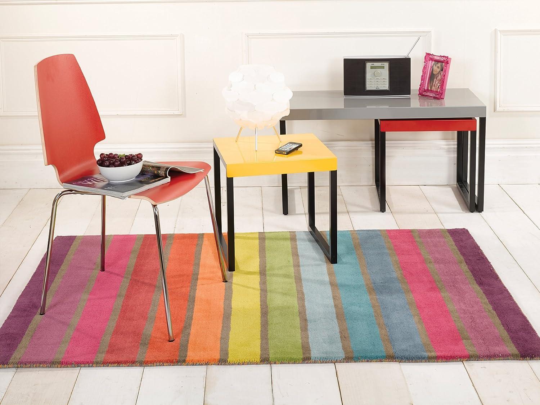 Lord of Rugs Illusion Candy Dick Modern handgetuftet Wolle Streifen Design Regenbogenfarben Teppich in 4 Größen, Wolle, Mehrfarbig, 160 x 220 cm (5'3'' x 7'3'')