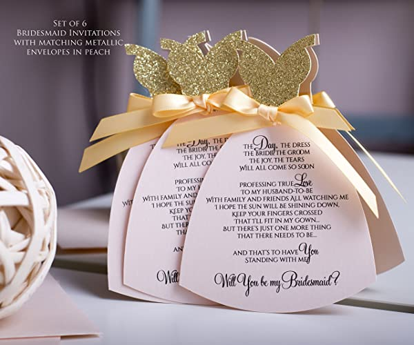 Amazoncom Will You Be My Bridesmaid Invitation Set of 6 Luxury