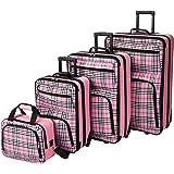 Rockland Fashion Softside Upright Luggage Set, Pink Cross, 4-Piece (14/19/24/28)