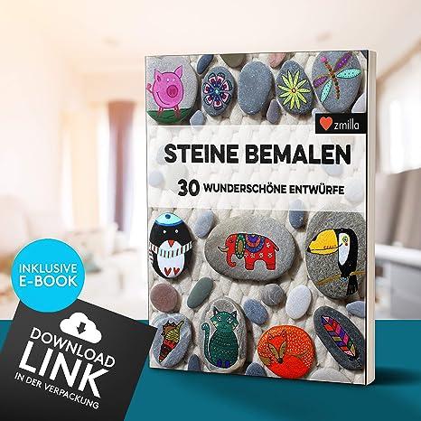 Inklusive E-Book - Extra D/ünne 0,7mm Spitze Wasserfeste Multimarker Zum Steine Bemalen Zmilla/® Acrylstifte 30 Farben