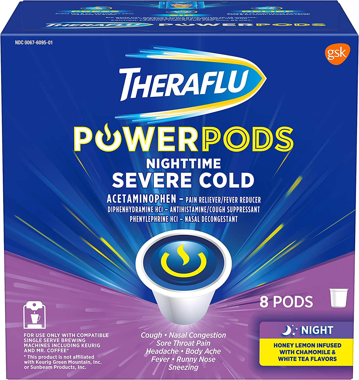 Theraflu PowerPods Nighttime Severe Cold Medicine, Honey Lemon with Chamomile & White Tea Flavors, 8 Count