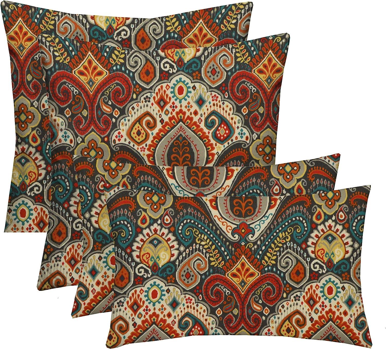 RSH D\u00e9cor Set of 4 IndoorOutdoor Square /& Rectangle Lumbar Throw Pillows Made of Sunbrella Bravada Limelite Choose Size