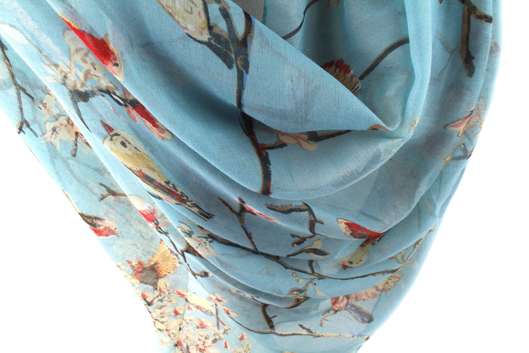 GERINLY Scarfs for Women Lightweight Floral Birds Print Shawl Wraps Spring Scarf Gift