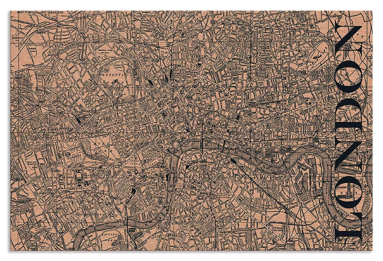 Artland Metallposter Kupfer I Wandbild Metall - Magnet Halterung 45x30 cm Alu Poster Querformat Stadtplan London Bild Schwarz J2OC
