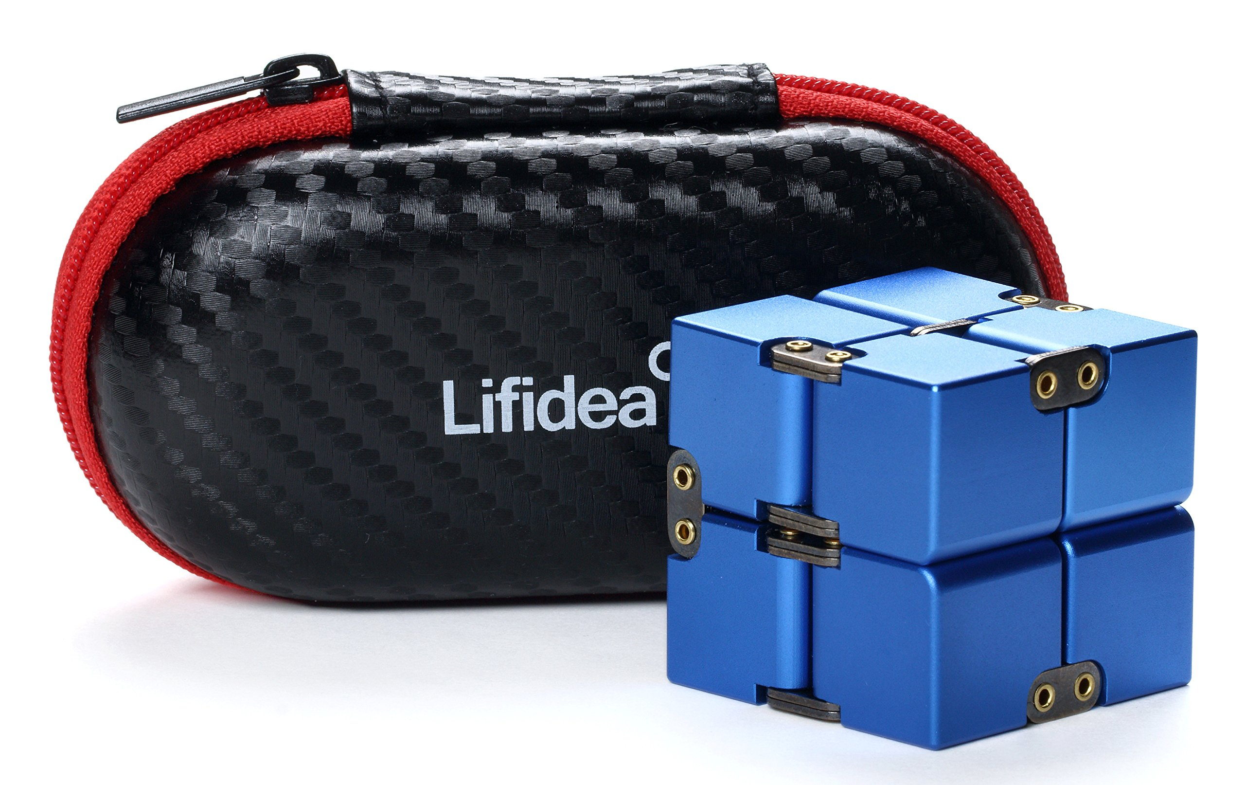 Lifidea Aluminum Alloy Metal Infinity Cube Fidget Cube (5 Colors) Handheld Fidget Toy Desk Toy with Cool Case Infinity Magic Cube Relieve Stress Anxiety ADHD OCD for Kids and Adults (Blue) by Lifidea