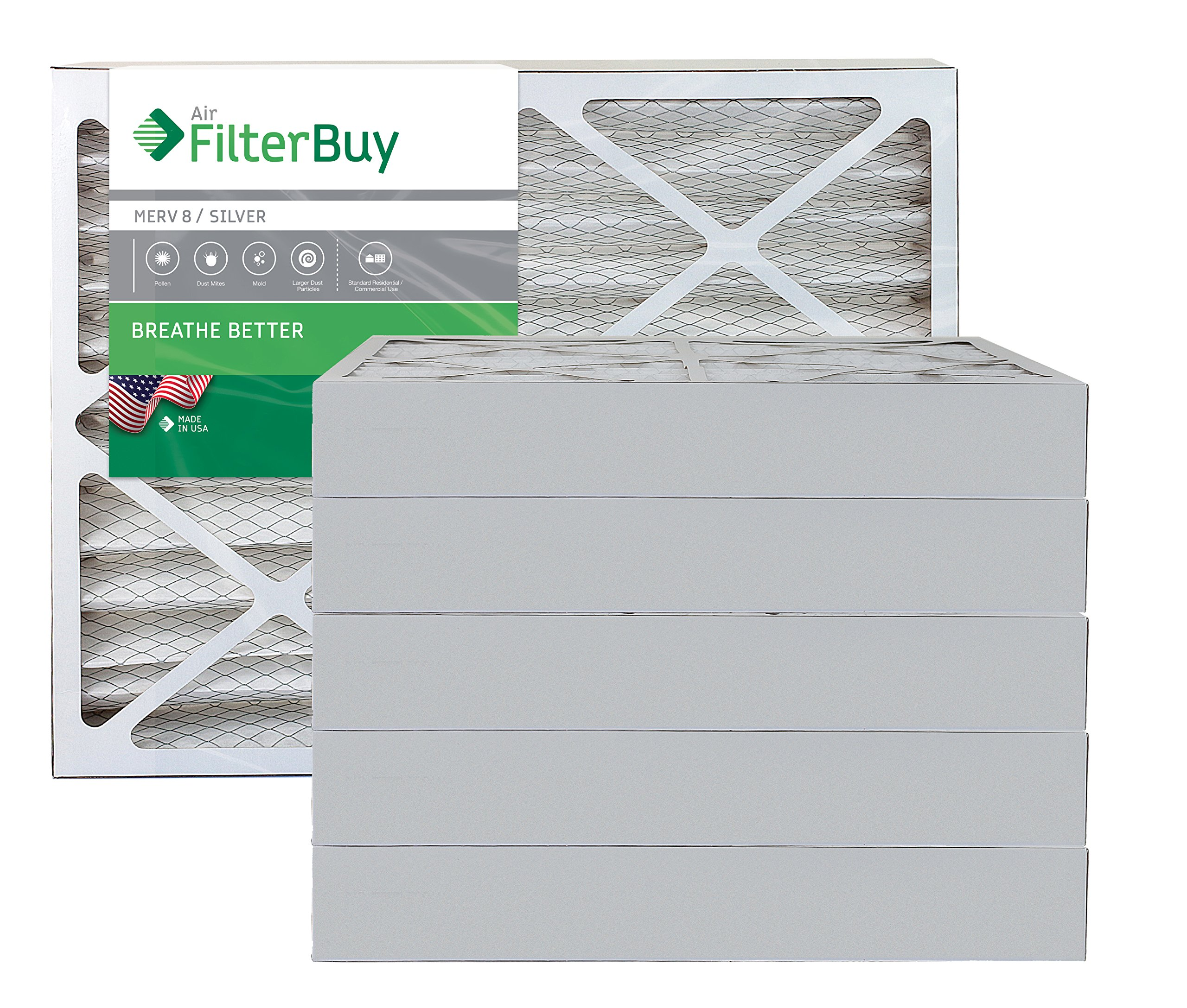 AFB Silver MERV 8 20x23x4 Pleated AC Furnace Air Filter. Pack of 6 Filters. 100% produced in the USA. by FilterBuy