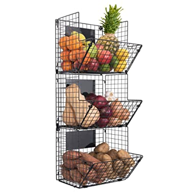 Premium 3-Tier Wall Mounted Hanging Wire Baskets with Chalkboards - High-Grade Black Iron - Fruit or Produce Storage - Pantry Organization - Rustic Country-Style