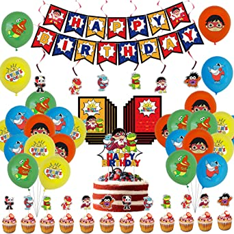 Invitation Cards Decorations for Boys Girl Kids Included Theme Banners Birthday Party Supplies Cake and Cupcake Toppers Balloons