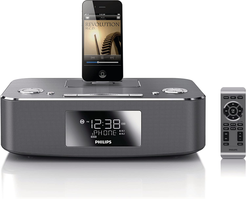 Philips estación Base para iPod/iPhone/iPad DC291/12 - Altavoces (2.0 Canales, 10 W, 3,5 mm, iPad,iPhone,iPod, FM, LCD)