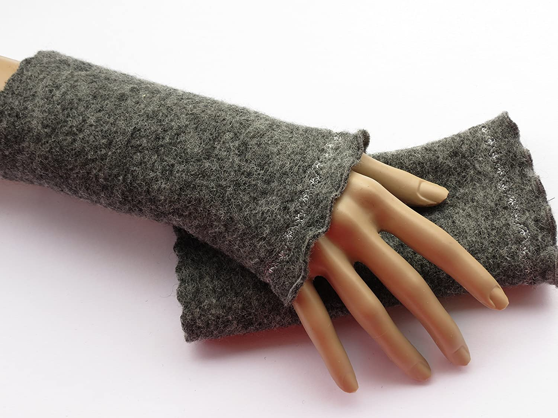 Armstulpen/Pulswärmer aus Walkwolle (Walk, Walkstoff) in dunklem Grau; Zierstich