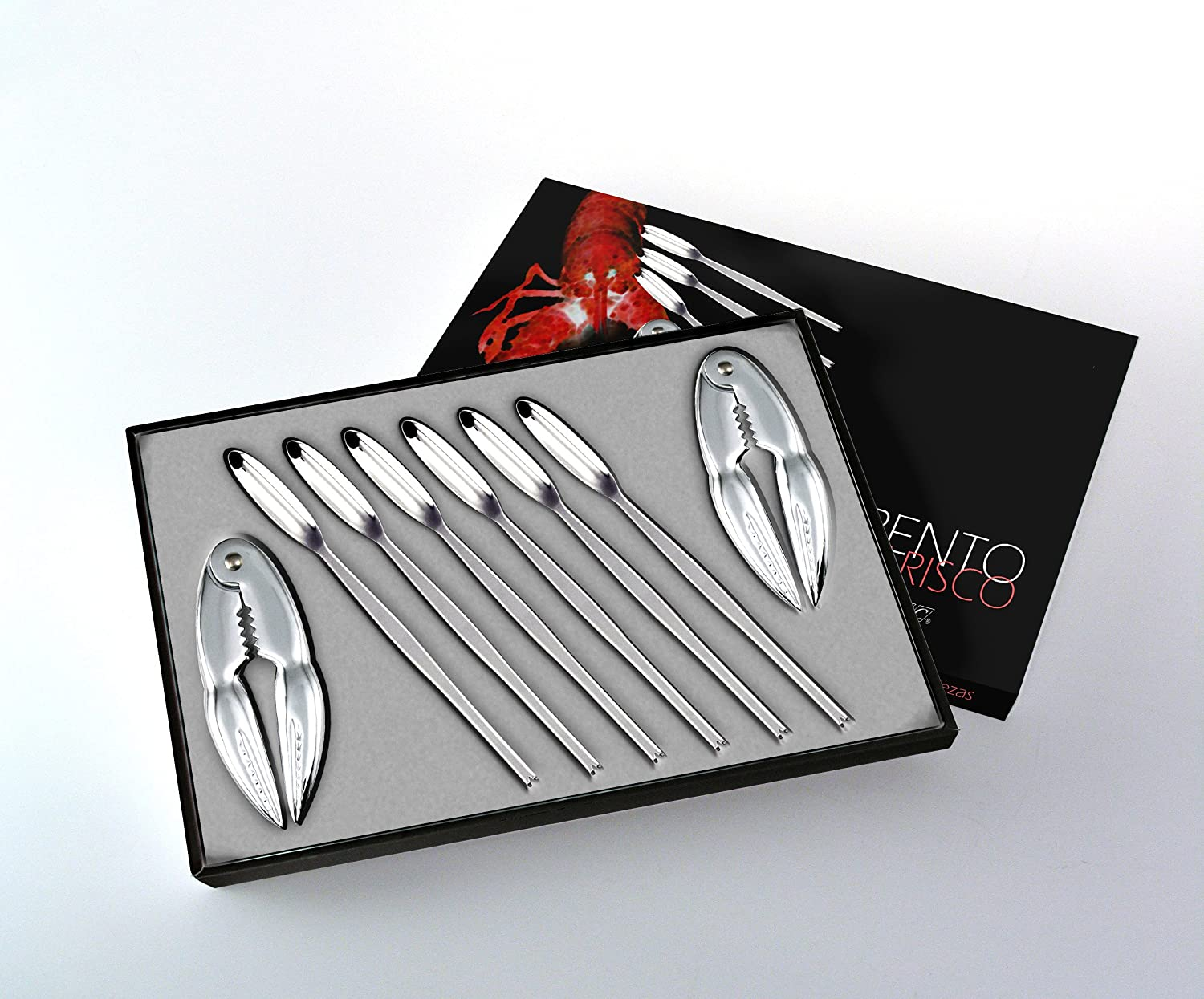 Seafood cutlery set in high quality stainless steel. 2 seafood crackers and 6 Seafood forks CRC