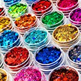 24 Colors Holographic Chunky Fine Glitter Powder Mix for Epoxy Resin, Hexagons Iridescent Sequins Nail Art Decor Sparkles Fla
