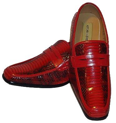 6494 Mens Red Black Snake Pattern Dress Loafers Shoes