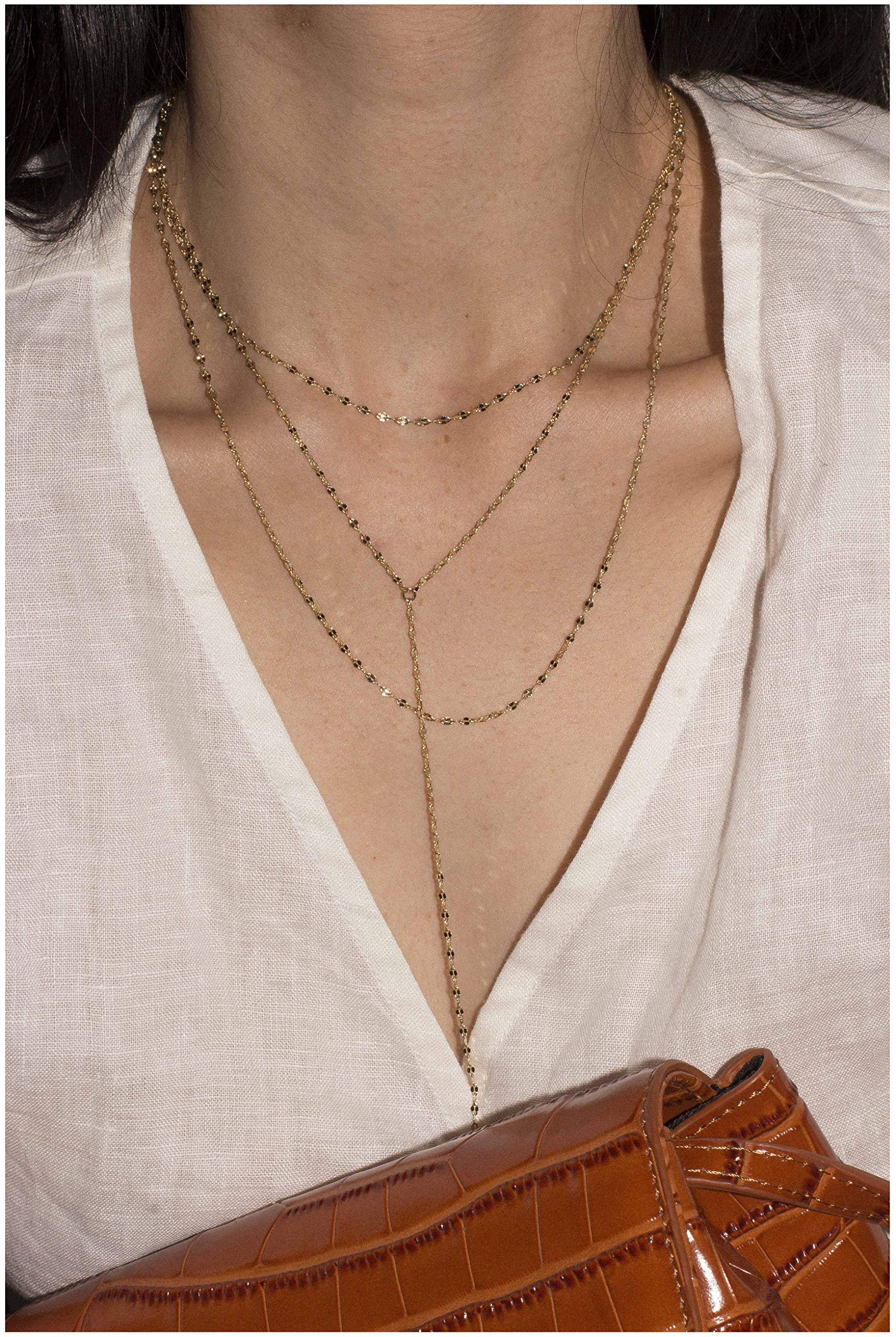 ACC PLANET Layered Necklace 14K Gold Plated Choker (Coffee Gold) Y Chain Sequins Long Chain Pendant Necklaces for Women