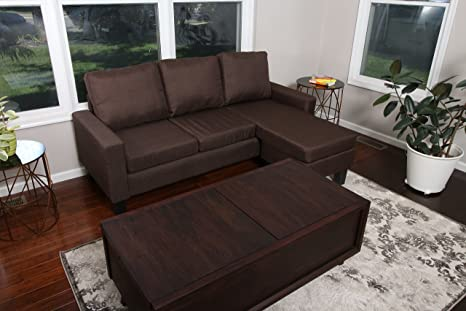 Review Large Brown Linen Modern Contemporary Upholstered Quality Adjustable Left or Right Sectional - 276 Brown 77 x 53
