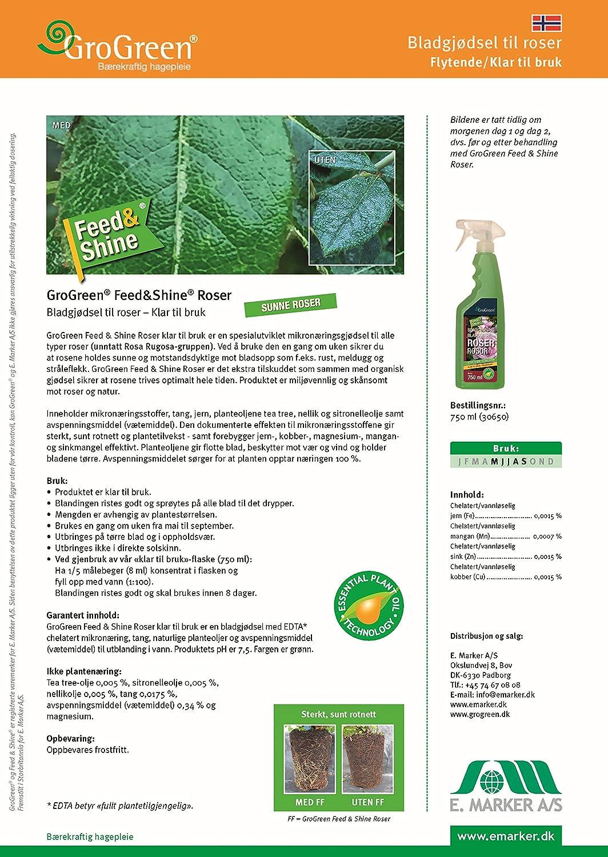 GroGreen Feed & Shine rosas 750 ml listo para usar, pulverizador. Rosas fertilizantes líquidos, Use menos fungicida o spray fungoso para rosas, ...