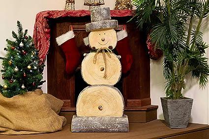 Amazoncom Alpine Wtj102l Wooden Snowman Statue 46 Inch Tall