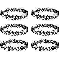6 x Tattoo Kette, Choker Halsband, Henna Halskette schwarz, Einheitsgröße