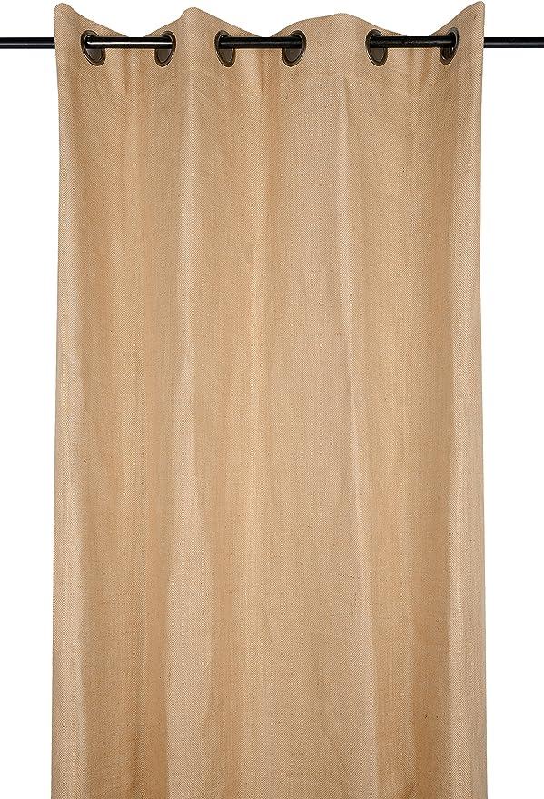 Cortina yute – Grueso tela de algodón – Aspecto De yute – 8 ojales ...