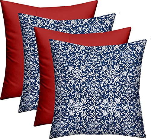 RSH D cor – Designer Indoor Outdoor Throw Pillow Sets Americana Red, White, Blue 4th of July American Pride Freedom Patriotic 20 x 20 , Navy Affair Red