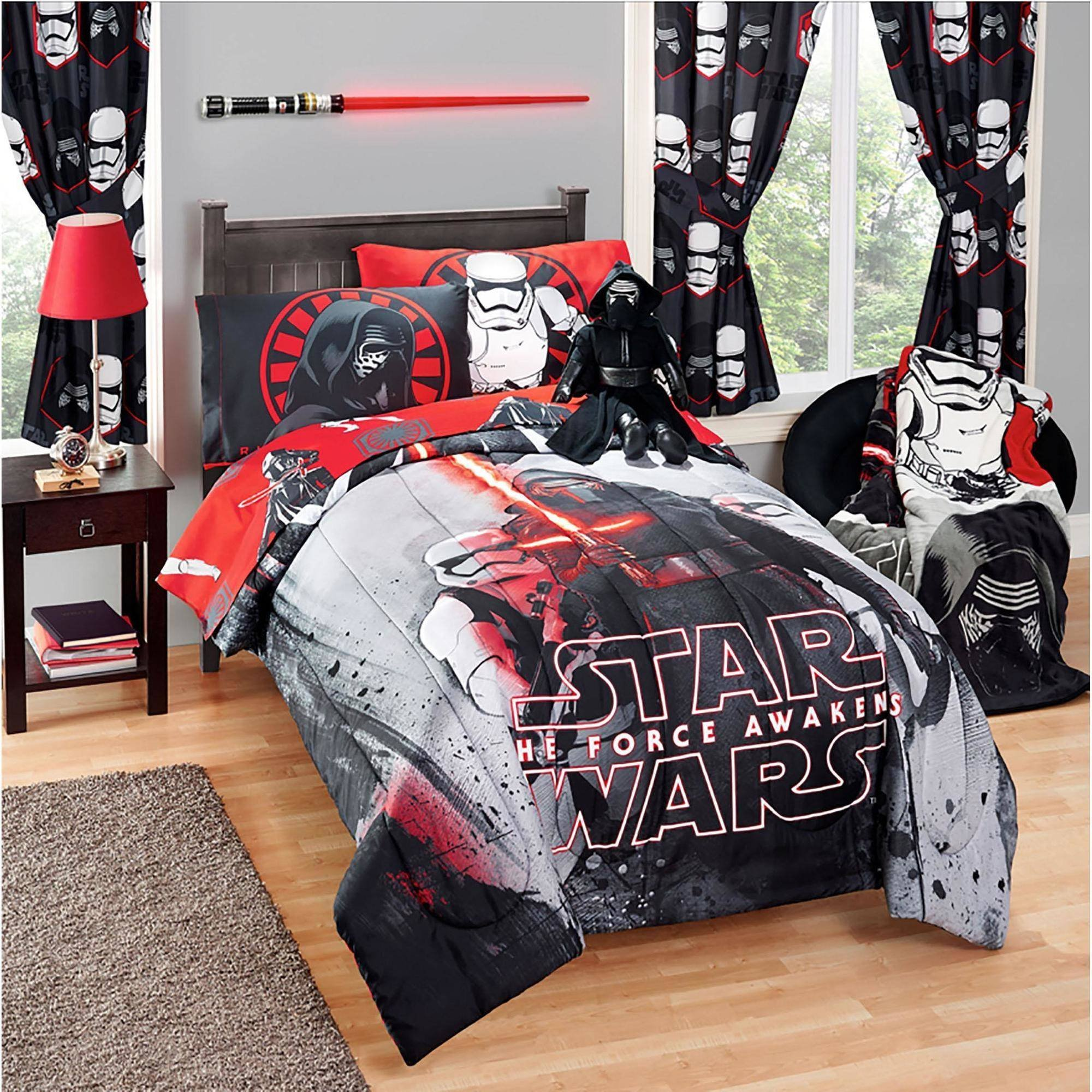 1 Piece Boys Star Wars Theme Comforter Twin/Full, Kids Starwars The Movie Graphic Bedding, Multi Color Animated Character Darth Vader Yoda Chewbacca Storm Trooper Themed Pattern Red Black, Vibrant