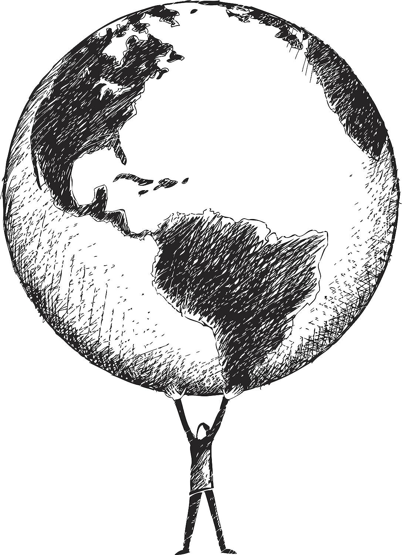 Amazon com: Man Holding the World Earth Pencil Sketch