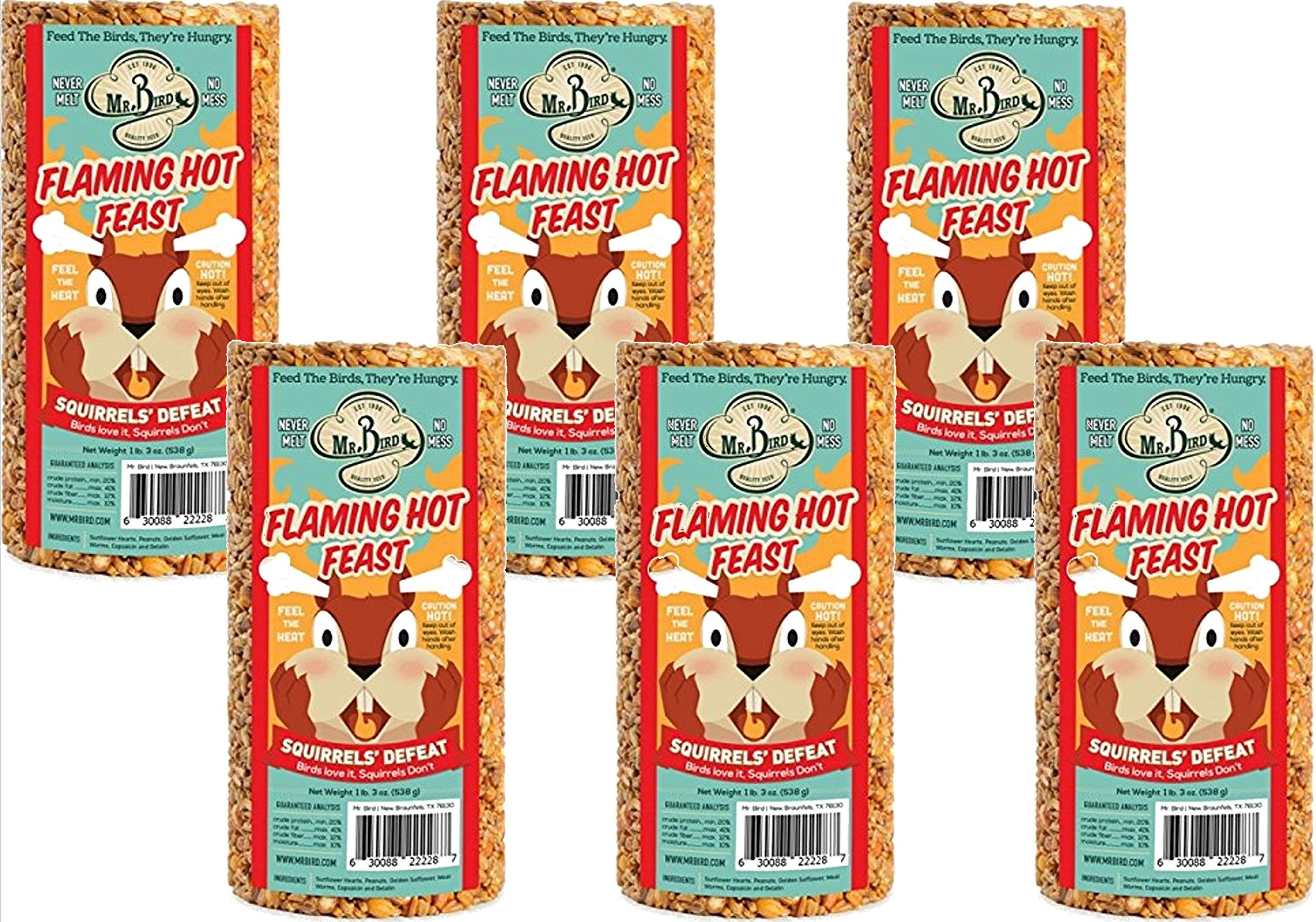 6-Pack of Mr. Bird Flaming Hot Feast Small Cylinder 19 oz. by Mr. Bird