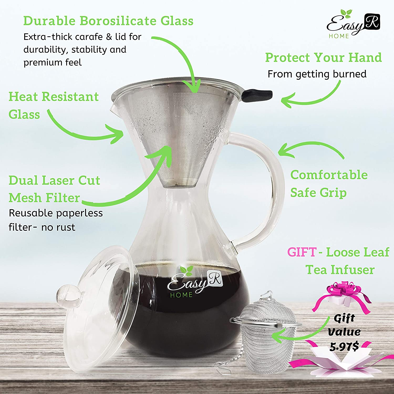 37oz Hand-Drip Coffee Brewer Pot with Heavy-Duty Borosilicate ...