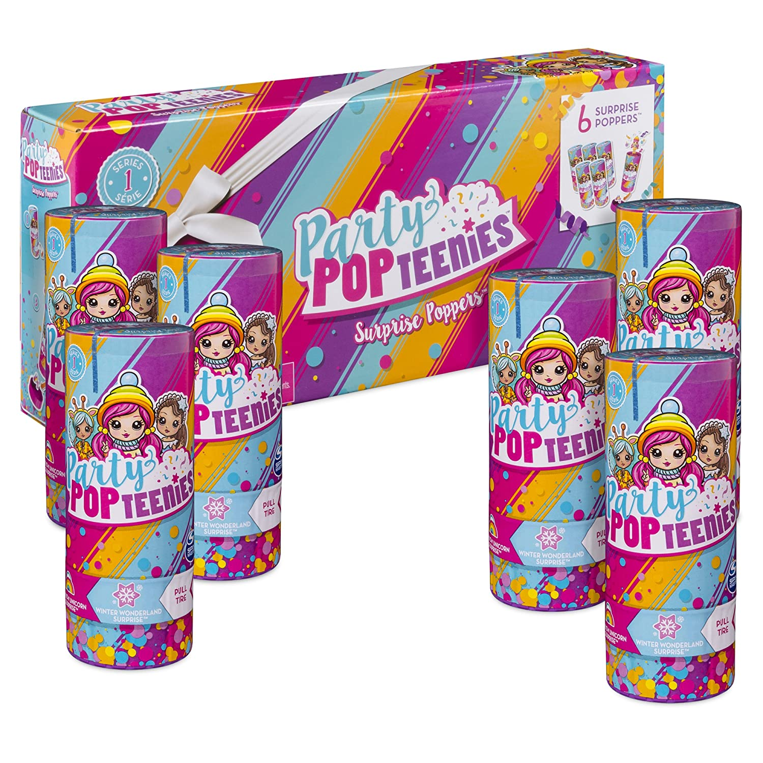 Party Pack for Ages 4 and Up 6 Surprise Popper Bundle with Confetti Collectible Mini Dolls and Accessories Styles Vary Party Popteenies