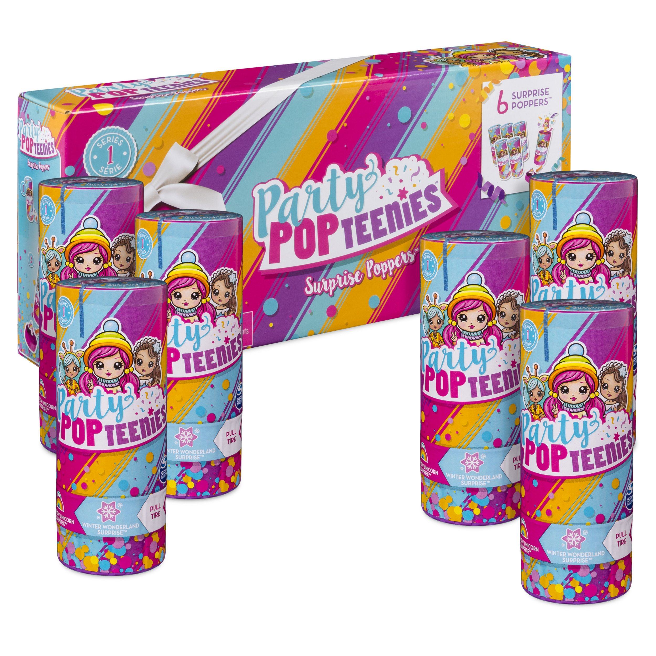 Party Popteenies - Party Pack - 6 Surprise Popper Bundle with Confetti, Collectible Mini Dolls and Accessories, for Ages 4 and Up (Styles Vary)