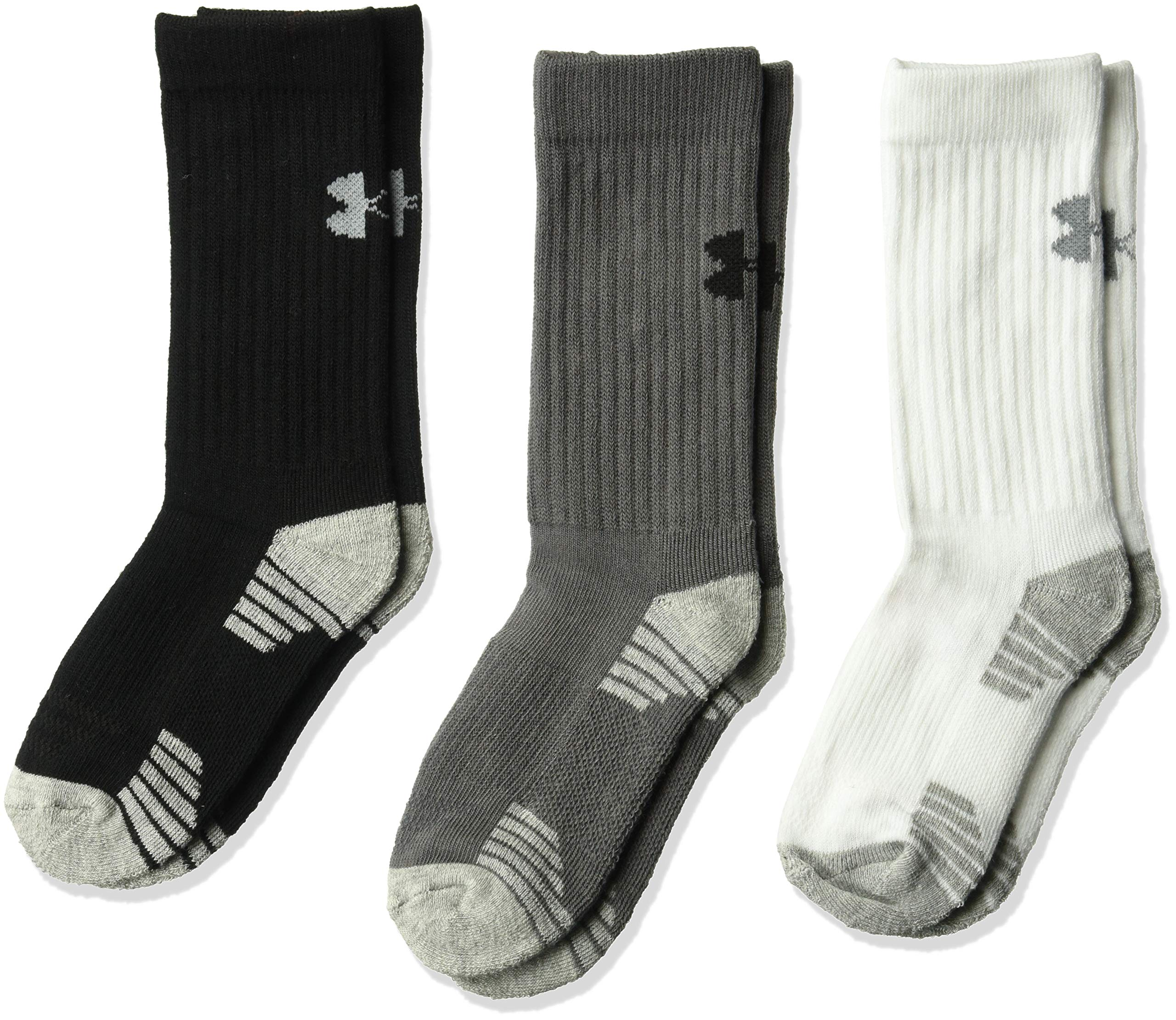 Boys Under Armour 3-Pack HeatGear Crew Socks ,Graphite Assortment (1303207-040) / Black/White/Grey,Small (Youth Shoe Size 13.5K-4Y)