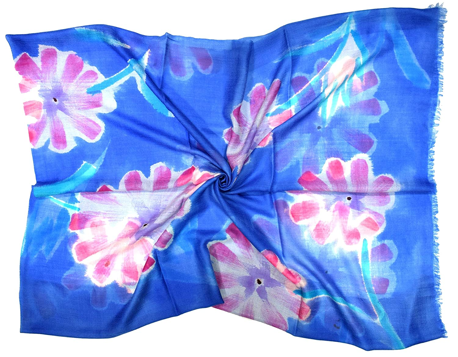 Blue with Large Pink Flower Design Hand Painted Large Silk/Cashmere Blend Scarf