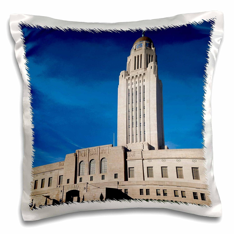 Nebraska State Capitol Exterior Pillow Case Nebraska Lincoln 16 x 16 3dRose pc/_192125/_1 Use