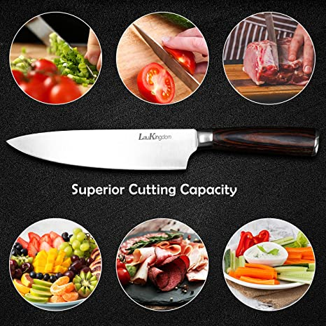 Cuchillo de cocina LauKingdom Pro de 20 cm de acero inoxidable de ...